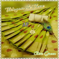 AF Traditional and Trendy Thilagam Butta weave on Soft Tussar silk with lines Pa
