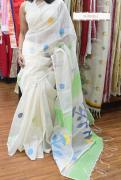 elegant silk linen sarees with blouse piece