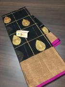 elegant Pure Banarasi Chanderi Katan sarees With Rich Pallu n Brocade Zari Blous