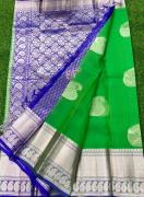 elegant Kanchi Kora Sarees With Silver Weaving Butas And Contrast Brocade Blouse