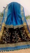 elegant Pure handloom silk linen sarees with weaving pallu