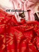 elegant Matka silk saree with Muslin jamdani weaved pallu and blouse