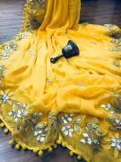 elegant latest designer Gotta Patti chiffon sarees available