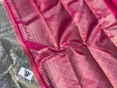 elegant Pure kanchivaram grey colour saree with silver zari weaving and blouse