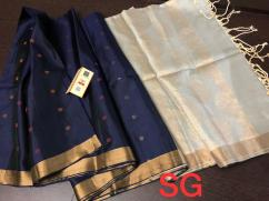 elegant pure handloom gadwal silk weaving sarees with contrast blouse