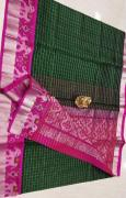 elegant pure Kuppadam Pattu Sarees with Ikkat Silver Borders