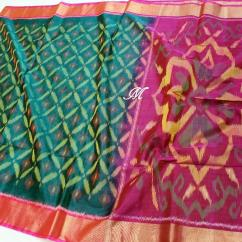 elegant Pure Handloom Ikkat sico pure silk sarees with 4 inch Boarders