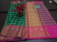 elegant DAMPACH TUSSAR sarees WITH LINEN BLENDS and blouse