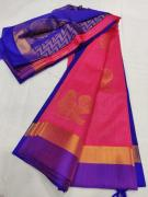 elegant Mangalagiri pattu hand Buta work big jari Border sarees with blouse