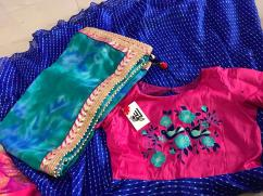 elegant kota silk embroidery anarkali with bandhini dupatta
