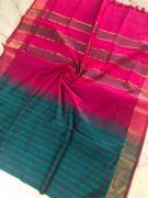 elegant Mangalagiri Pattu checks sarees with blouse