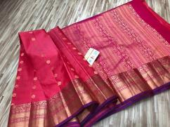 Exclusive Kanchipuram handloom pure Silk sarees with contrast blouse
