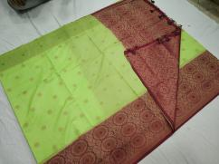 elegant linen silk butta sarees with skirt border and brocade blouse