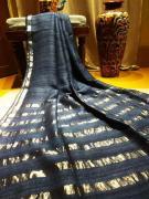 elegant Desi gicha tussar sarees with golden border and strips pallu