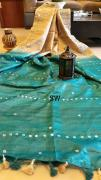 elegant Geecha silk mirror work sarees with contrast blouse