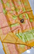 elegant banaras shibori silver weaving sarees with brocade blouse