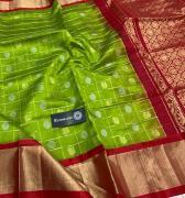 elegant Kuppadam Silk Sarees with jari borders and plain blouse