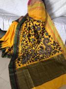 Pure raw silk dupiona sarees with pen kalamkari applique work blouse