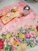 Beautiful floral linen silk sarees with awesome blouse
