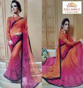 fancy Chinon_Georgette saree for dailywear partywear at Solanki Fashion