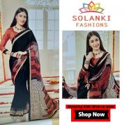 Georgette saree- Buy now printed simple dailywear at Solanki Fashion