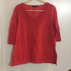 Red In Colour Top In Cotton Fabric