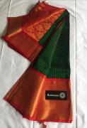 Pure Handloom Mangalagiri Cottonsilk Sarees   Contrast Pallu & Blouse