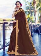 Shop Astonishing Brown Color Sarees Online At Mirraw