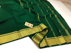Exclusive KSIC thickness Pure Mysore Crepe silk sarees with contrast pallu and b