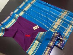 Exclusive Ksic grade Pure Mysore Crepe Silk sarees with double contrast bentex b