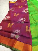Pure Handloom Pattu soft silk sarees all over Jerry and thread buta work with co