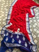 Handloom pure kaddi georgette sarees with silver zari weaving contrast border a