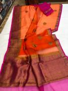 CORA SILK SAREES WITH CONTRAST BLOUSE