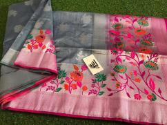 New Arrivals Of handloom banaras Jute Silk Sarees With Meena Alfi Skirt N Pallu