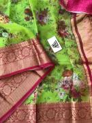 Digital printed handloom pure organza sarees with antique weaving contrast kanch