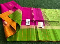 gadhwal soft silk sarees with border checks allover saree butis and rich pallu..