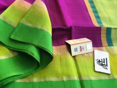 gadhwal pure soft silk plain sarees with zari lines pallu...blouse pallu color p