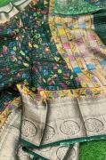 Pure Lenin Dark Chart Floral Digital Printed Sarees with Weaving Borders(200 co