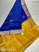 Pure handloom double warp kanchipuram silk  Pallu colour plain blouse