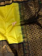 Kanchi Pattu Border Handloom Kuppadam Pattu Sarees With Contrast Blouse