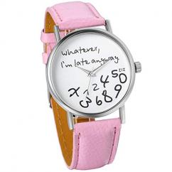 Wrist Watch With Light Pink Strap