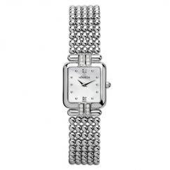 Designer wrist watch with silver chain