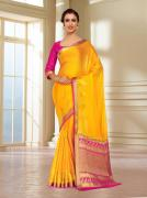 Buy The Latest Collection Of Gold Sarees Online At Mirraw
