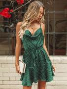 VINTAGE GREEN POLKA DOT SEXY STRAP & BACKLESS SUMMER PARTY DRESS FOR LADIES