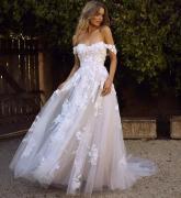 PRINCESS WHITE OFF SHOULDER APPLIQUE LACE A LINE WEDDING DRESS FOR BRIDE