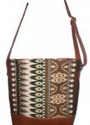 Jacquard fabric with pu leather handbag