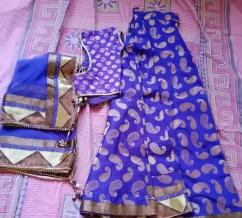 Purple colour lehenga with heavy duptta.