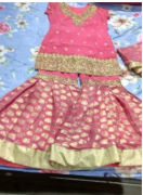 Pink color heavy Sharara Suit