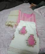 Pink color cotton three piece suit with Zari work