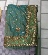 Metallic net saree with blouse